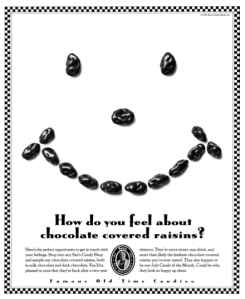 How do you feel about chocolate covered raisins?